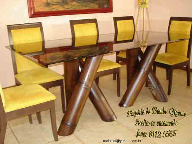 Mesa De Jantar   Bamboo And Glass Dinner Table   Bamboo Arts And Crafts  Gallery